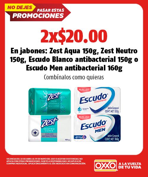 en Jabones: Zest Aqua 150gr, Zest Neutro 150gr, Escudo Blanco Antibacterial 150gr o Escudo Men Antibacterial 160gr