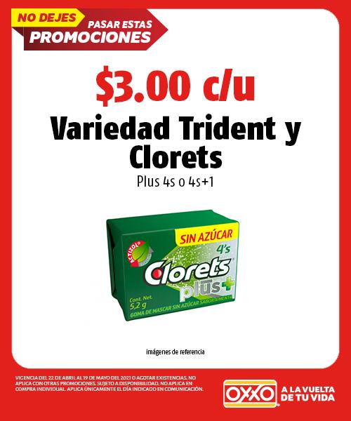 Variedad Trident y Clorets