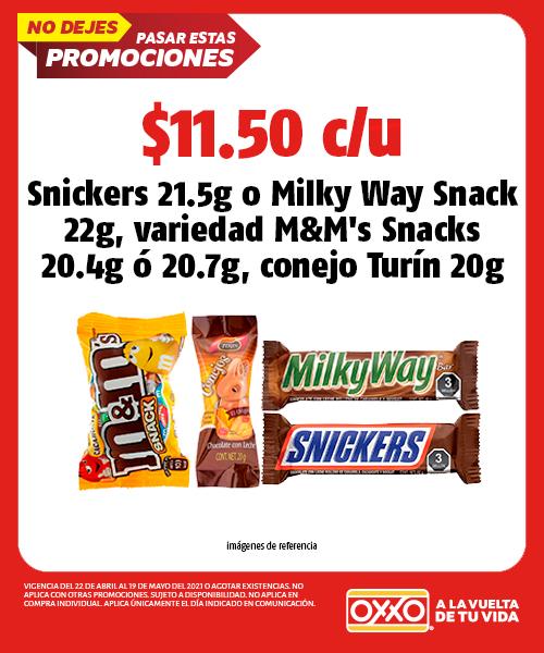 Snickers 21.5g ó Milky Way Snack 22gr, Variedad MMs Snacks 20.4g ó 20.7g, Conejo Turín 20g