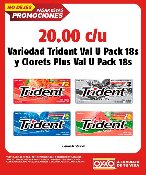 Variedad Trident Val U Pack 18s y Clorets Plus Val U Pack 18s