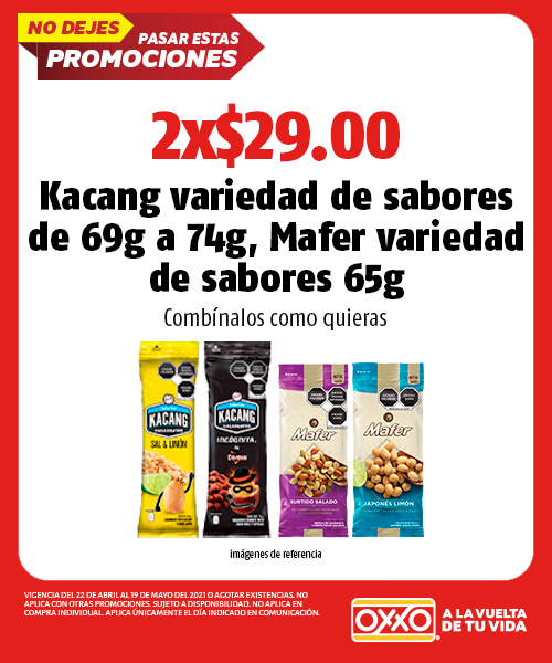 Kacang variedad de sabores de 69g a 74g, Mafer variedad de sabores 65g