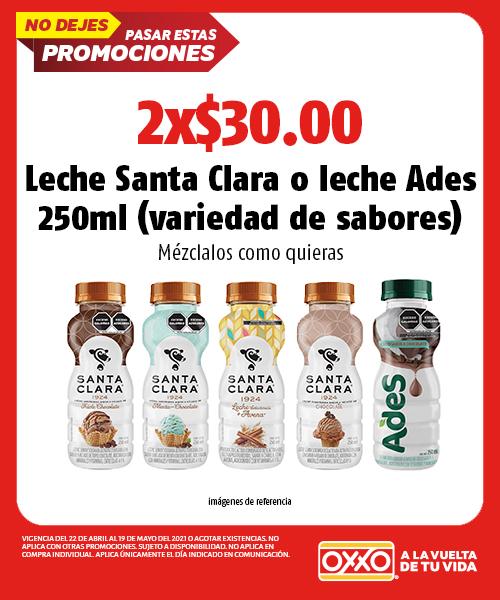 Leche Santa Clara o Leche Ades 250 ml (variedad de sabores)