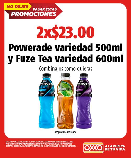 Powerade variedad 500ml, Fuze Tea variedad 600ml