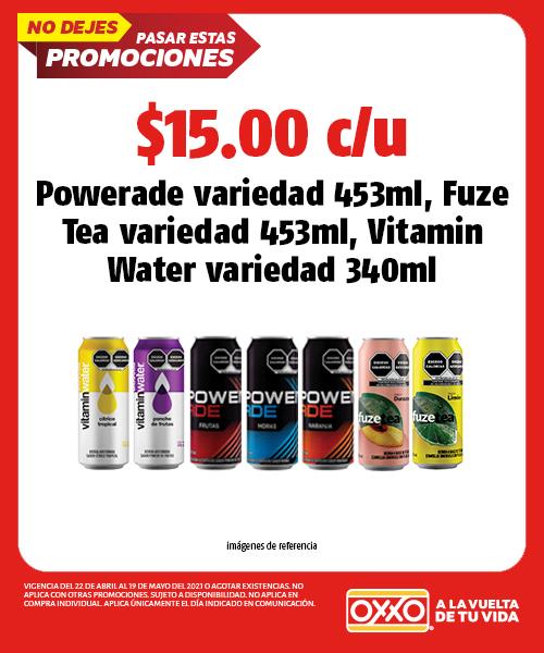 Powerade variedad 453ml, Fuze Tea variedad 453ml,