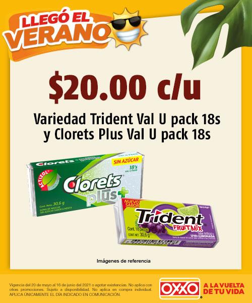 Variedad Trident Val U Pack 18s y Clorets Plus Val U Pack