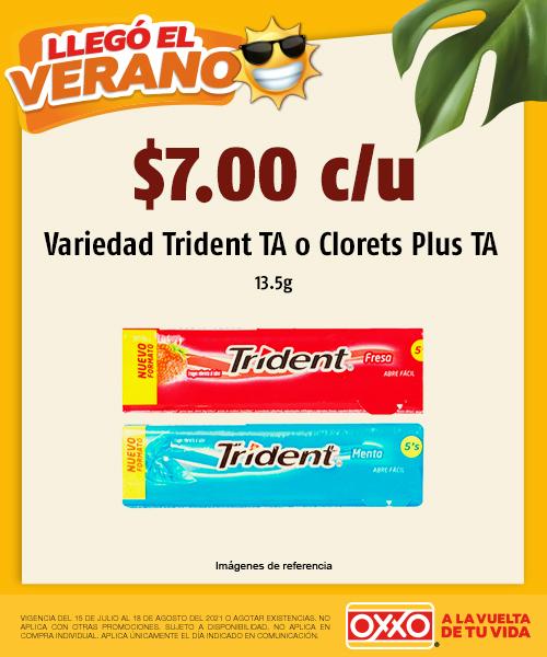 Variedad Trident TA  o Clorets Plus TA
