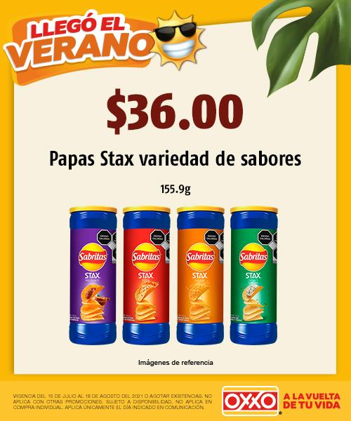 Papas Stax variedad de sabores
