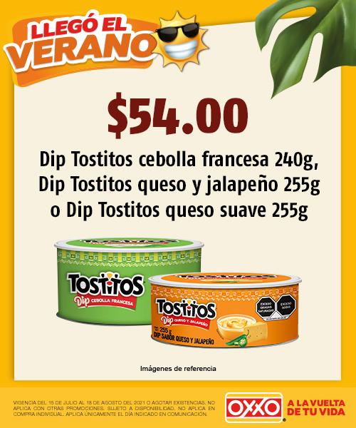 Dip Tostitos cebolla francesa 240gr o Dip Tostitos queso y jalapeño 255gr o Dip Tostitos queso suave 255gr
