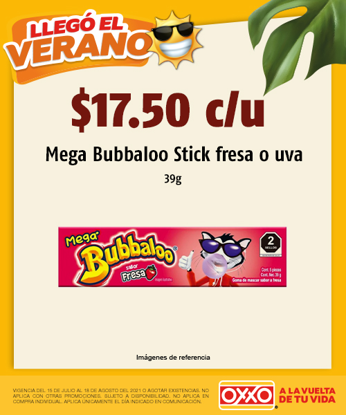 Mega Bubbaloo Stick Fresa y Mega Bubbaloo Stick Uva 39G
